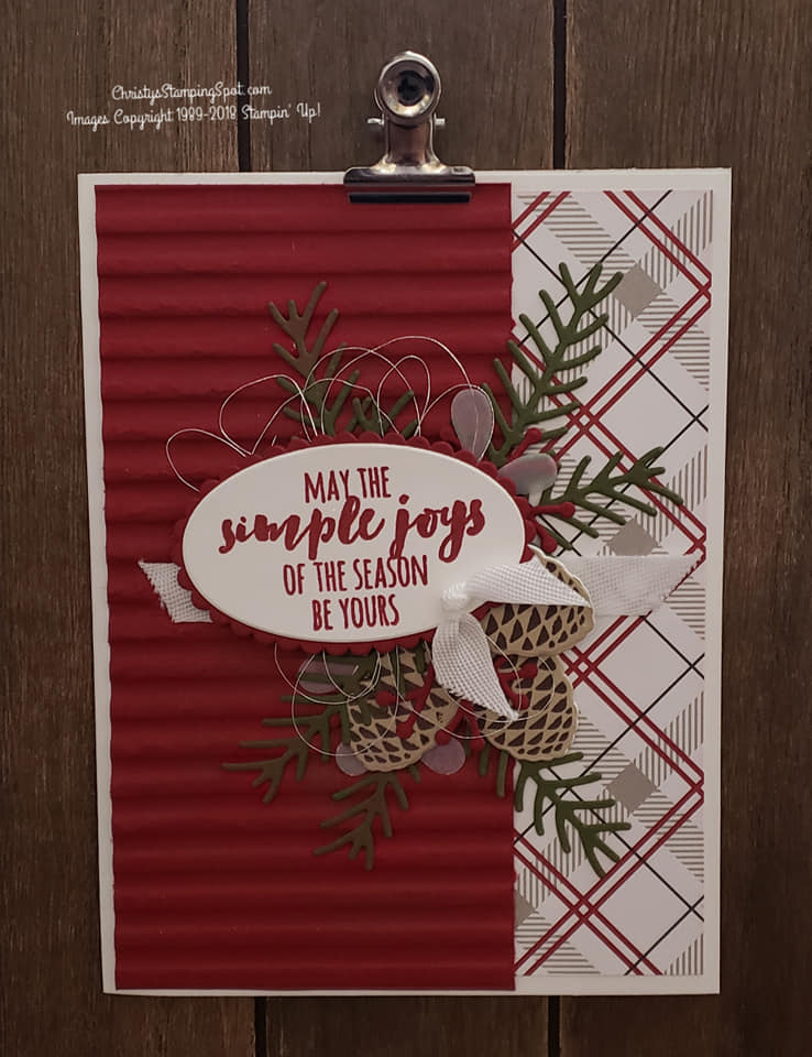 For this lovely Christmas Pines stamp set and Pretty Pines thinlit dies card I used the Festive Farmhouse DSP and the Corrugated embossing folder.